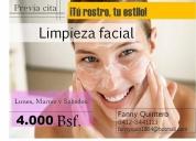 Limpieza facial a domicilio, contactarse.