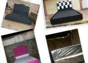 Venta de box y camas tapizadas en semicuero