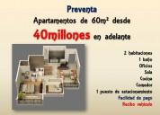 Apartamentos de  60m² por 40millones