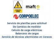 Servicio de planilla de corpoelec tecnico electricista caracas