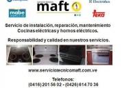 Instalación reparación cocinas eléctricas caracas