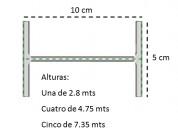Vigas doble t de 10cm x 2.8 mts, 4.75 mts y 7.35 m