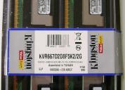 Memorias ram kingston 2gb (dos módulos de 1gb)