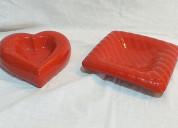 02 ceniceros de porcelana modernos rojos usado