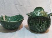 01 sopera y 01 bol ensalada en cerámica de repollo