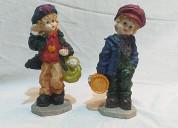 02 adornos de niños del campo franceses usado