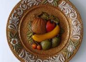 03 platos decorativos de frutas en ceramica