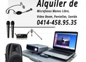 Alquiler de video beam, micrófono manos libres
